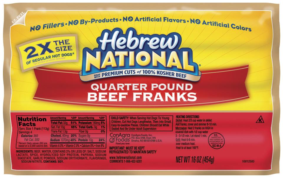 Hebrew National Hot Dog Carbs